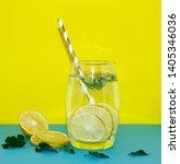 detox water. lemon water with... | Shutterstock . vector #1405346036