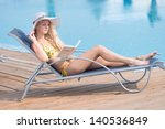 young woman in bikini  hat and  ... | Shutterstock . vector #140536849