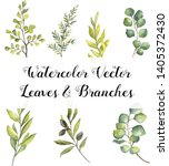 watercolor vector leaves and... | Shutterstock .eps vector #1405372430