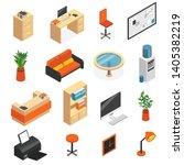isometric isolated office... | Shutterstock .eps vector #1405382219