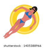 summer time  woman in blue...   Shutterstock .eps vector #1405388966