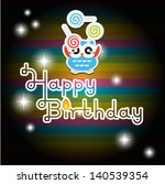 happy birthday card with cute... | Shutterstock .eps vector #140539354