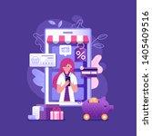 mobile shopping rewards concept ... | Shutterstock .eps vector #1405409516