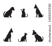 cat and dog vector silhouettes... | Shutterstock .eps vector #1405425530