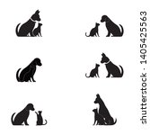 cat and dog vector silhouettes... | Shutterstock .eps vector #1405425563