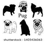 set of pugs. collection of... | Shutterstock .eps vector #1405436063