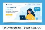 customer service landing page.... | Shutterstock .eps vector #1405438700