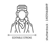 Stewardess Linear Icon. Air...