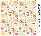 pizza seamless pattern | Shutterstock .eps vector #140547739