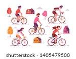 people riding bikes vector... | Shutterstock .eps vector #1405479500