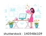 girl holding piggy bank vector... | Shutterstock .eps vector #1405486109