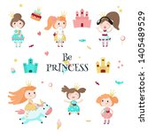 beautiful princess in crown...   Shutterstock . vector #1405489529