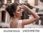 beautiful bride with pearl... | Shutterstock . vector #1405498700