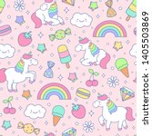 cute pastel unicorn and dessert ... | Shutterstock .eps vector #1405503869