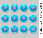 blue round buttons with pink...