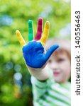 cute little boy showing his... | Shutterstock . vector #140556463