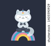 cat unicorn. yoga kitty on the... | Shutterstock .eps vector #1405590929