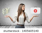 young business woman holding... | Shutterstock . vector #1405605140