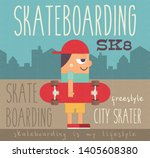 boy with red skateboard on town ... | Shutterstock .eps vector #1405608380