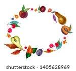 watercolor oval frame wiht... | Shutterstock . vector #1405628969