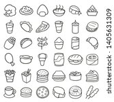 fast food icons. traditional... | Shutterstock .eps vector #1405631309