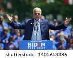 Small photo of PHILADELPHIA - MAY 18, 2019: Former vice-president Joe Biden formally launches his 2020 presidential campaign during a rally May 18, 2019, at Eakins Oval in Philadelphia.