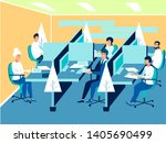 work environment  employees at... | Shutterstock . vector #1405690499