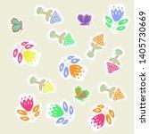 ornament  of bells  leaves ... | Shutterstock . vector #1405730669