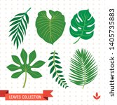 tropical vector green leaves... | Shutterstock .eps vector #1405735883