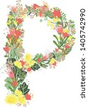 floral alphabet letters with... | Shutterstock .eps vector #1405742990