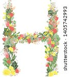 floral alphabet letters with... | Shutterstock .eps vector #1405742993
