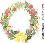 floral alphabet letters with... | Shutterstock .eps vector #1405742996