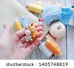 handmade knitted toy. amigurumi ...   Shutterstock . vector #1405748819