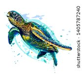 Stock vector  sea turtle realistic artistic colored drawing of a sea turtle on a white background in a 1405787240