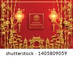 chinese oriental background and ... | Shutterstock .eps vector #1405809059