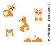 cute corgi puppies isolated on... | Shutterstock .eps vector #1405820543