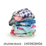 clothes stack over white... | Shutterstock . vector #1405828406