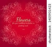 wreath of roses or peonies... | Shutterstock .eps vector #1405931423