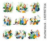 parents and children family... | Shutterstock .eps vector #1405987316