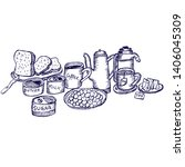 bread and tea for breakfast | Shutterstock .eps vector #1406045309
