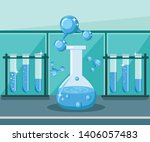 water research  lab analysis... | Shutterstock .eps vector #1406057483