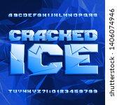 cracked ice alphabet font....   Shutterstock .eps vector #1406074946