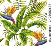 tropic summer painting seamless ...   Shutterstock . vector #1406083679