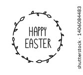 Stock photo raster wishes happy easter holiday illustration with black words on white background calligraphy 1406084483