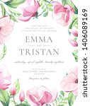 watercolor wedding invitation... | Shutterstock . vector #1406089169