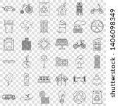 energy car icons set. outline... | Shutterstock .eps vector #1406098349