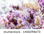 beautiful dried purple and pink ... | Shutterstock . vector #1406098673