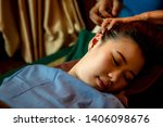 asian woman relax with head  ... | Shutterstock . vector #1406098676