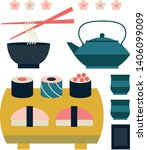 set of japanese food and... | Shutterstock .eps vector #1406099009