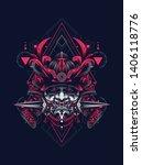 samurai mask with sacred...   Shutterstock .eps vector #1406118776
